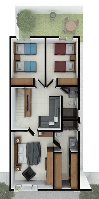 Distribución planta alta de casa en venta en Cumbres modelo Ibiza VI en Montenova Residencial.