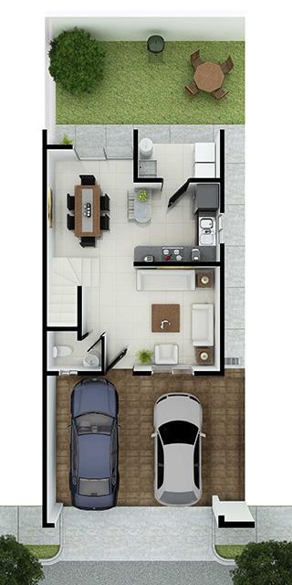 Distribución planta baja de casa en venta en Cumbres modelo Ibiza VI en Montenova Residencial.